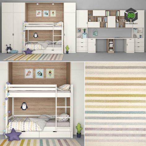 Furniture for Children Room With a Decor for Two Children(3ddanlod.ir) 530