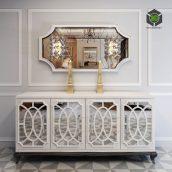 High End Italian White Fretwork Mirrored Sideboard(3ddanlod.ir) 1439