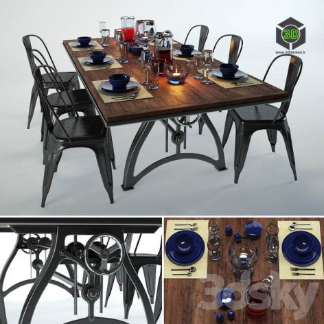 Iron Dining Table from IndustriaLux(3ddanlod.ir) 1130