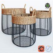Iron Wire Round Scoop Baskets With Seagrass(3ddanlod.ir) 1110