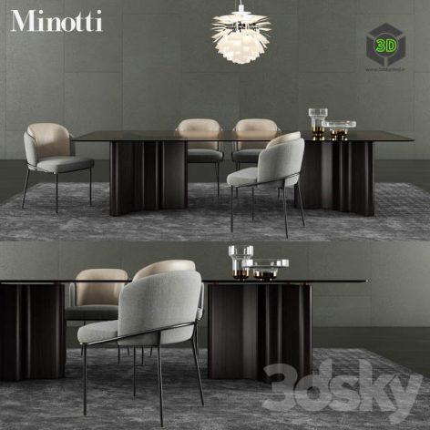 Minotti Lou Dining Table Fil Noir Dining Chair(3ddanlod.ir) 1258
