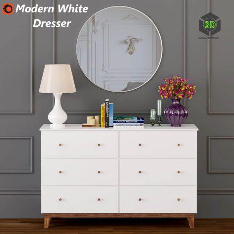 Modern White Dresser(3ddanlod.ir) 1429