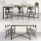 POTTERYBARN DINING TABLE AND LOFT MINI CHAIR(3ddanlod.ir) 1707
