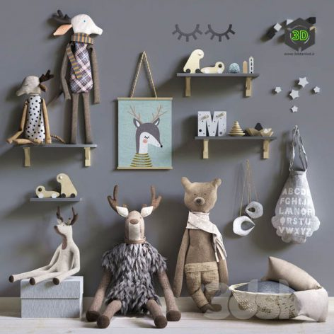 Set of Soft Toys and Accessories in the Scandinavian Style(3ddanlod.ir) 2190