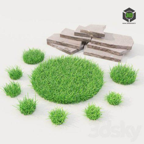 lawn Grass With Stones(3ddanlod.ir) 1081