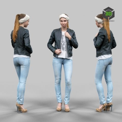 3D Model Download Cute girl in jeans leather jacket and bandana_070 (3ddanlod.ir)