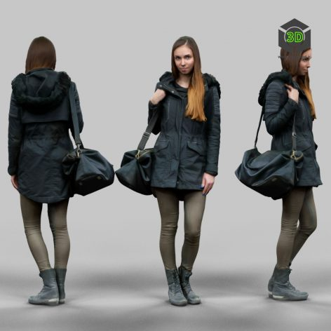 3D Model Download Girl in warm coat wearing bag_511 (3ddanlod.ir)