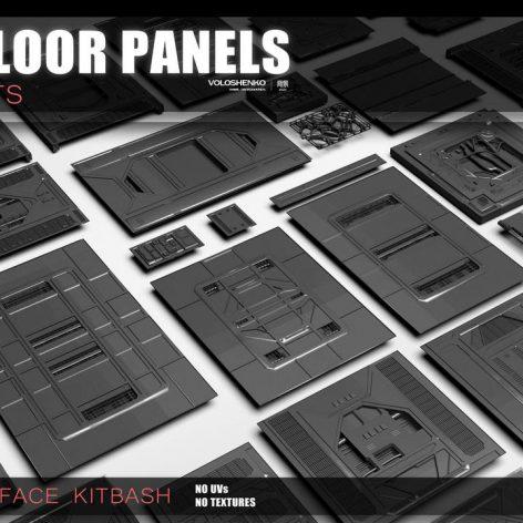 Sci-fi floor Panels KitBash 50 assets 0 cover (3ddanlod.ir)