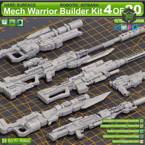 Artstation - Mech Warrior Hard Surface Kitbash 4 of 20 by Oleg Ushenok cover (3ddanlod.ir) 021