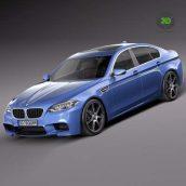 BMW M5 2014 F10 - 3D Model 104 side view (3ddanlod.ir)