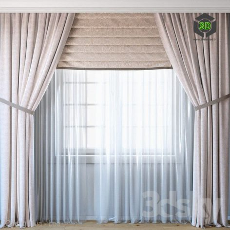 Curtains With Roman Curtain and Tulle Set(3ddanlod.ir)584