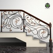 Wrought Fence Stairs(3ddanlod.ir) 2247