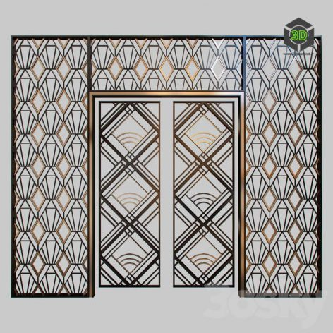 Wrought Iron Grille at the Front Door(3ddanlod.ir) 1771