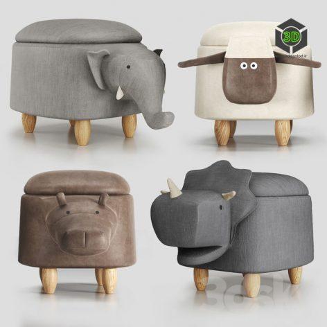 Hippo Childrens Storage Stool(3ddanlod.ir)740
