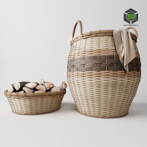 Laundry Basket Basket With Wood(3ddanlod.ir)178