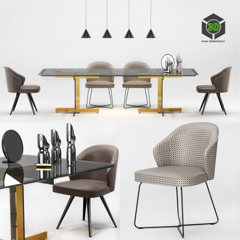Minotti Catlin Dining Table Leslie Dining Chairs(3ddanlod.ir)1011
