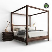Restoration Hardware STACKED Bed and Nightstand(3ddanlod.ir)016