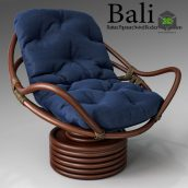 Bali Rattan Papasan Swivel Rocker With Cushion(3ddanlod.ir) 773