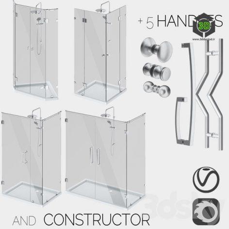 Corner glass shower enclosures, constructor and handle set (3ddanlod.ir)