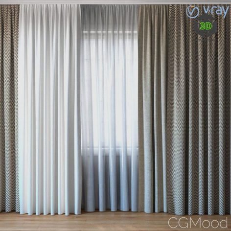 Curtains with Tulle 040 (3ddanlod.ir)