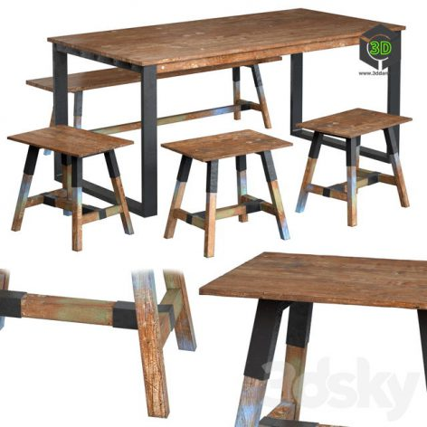 Dining Table With Teak Array Look 180(3ddanlod.ir) 165