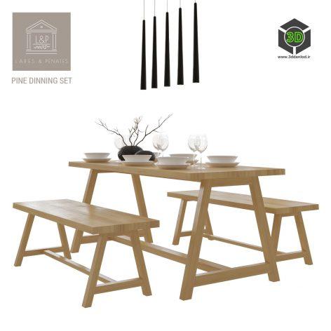 Lares Penates Pine Dinning Set(3ddanlod.ir) 900