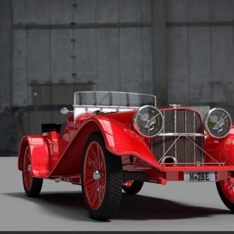 1936 Jaguar SS100 3D Model(3ddanlod.ir)