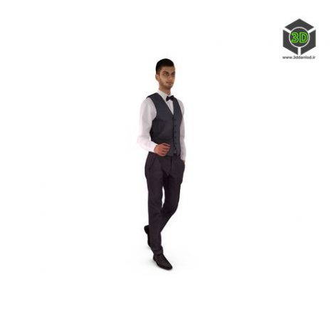 Bow-tie Businessman Walking Low-poly 3D model 025 (3ddanlod.ir)