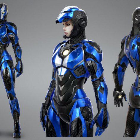 Iron girl 3d model 024 (3ddanlod.ir)