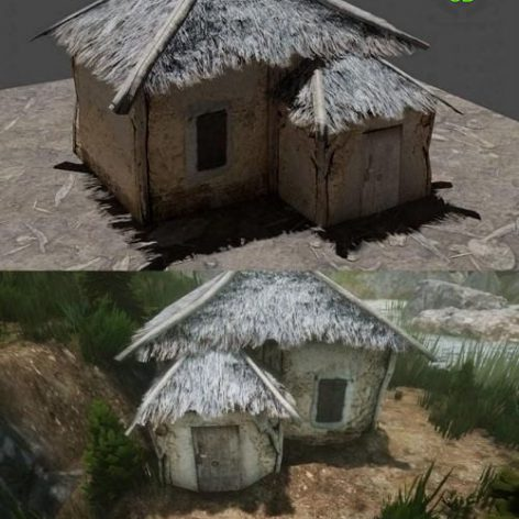 Little Thatched Village House – Low Poly – Game Ready low-poly 3D model (3ddanlod.ir)