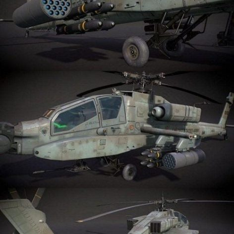 McDonnell Douglas AH-64A Apache Attack Helicopter 3D Model (3ddanlod.ir)