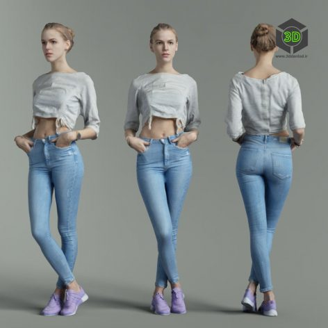 Sporty Girl Posing in Blue Jeans and Casual Shirt Scanned 3D Model (3ddanlod.ir)
