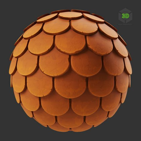 Stylized Fish Scale Terracotta Roof Tiles (3ddanlod.ir)