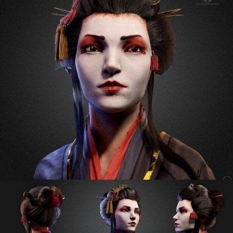 The Geisha 3D Model (3ddanlod.ir)