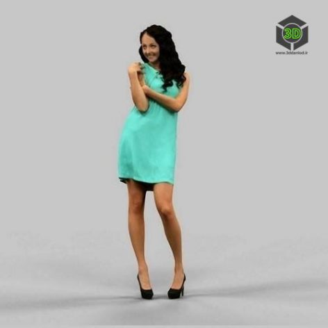Woman in green dress 3D Model (3ddanlod.ir)