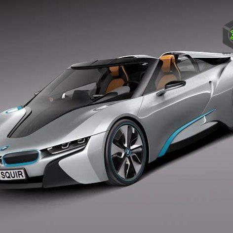 BMW i8 Spyder Concept 2012 3D Model(3ddanlod.ir)