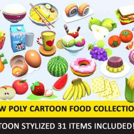 CGTrader – Toy Toon Cute Food Collections Low Poly Pack - 01 AR VR Low-poly 3D model (3ddanlod.ir)