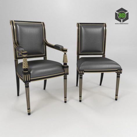 Regency style carved wood armchair 256 (3ddanlod.ir)