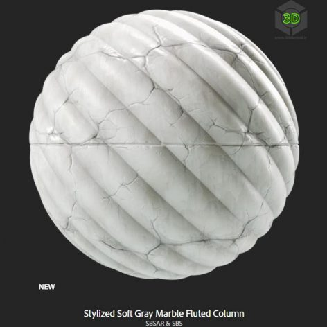 stylized_soft_gray_marble_fluted_column(3ddanlod.ir)
