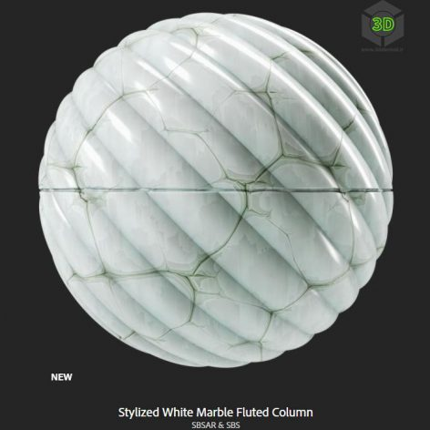 stylized_white_marble_fluted_column(3ddanlod.ir)
