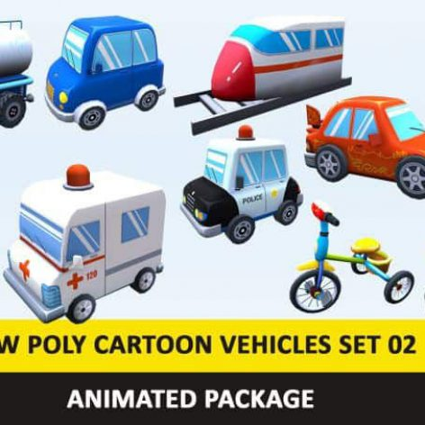 (3ddanlod.ir)CGTrader-–-Animated-Toy-Cartoon-Cute-Vehicles-Low-Poly-Pack
