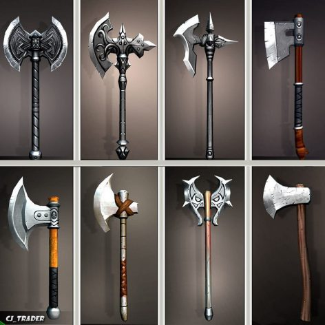 CGTrader - Fantasy Axe Collection Pack Low-Poly 3D Model 001 cover (3ddanlod.ir)