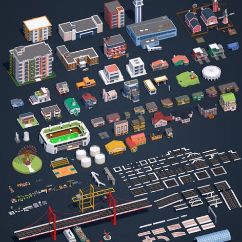Cgtrader-Low.Poly.City.Pack.2.Low-poly 009 cover (3ddanlod.ir)
