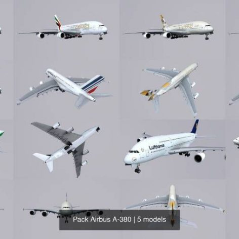 Cgtrader - Pack Airbus A-380 3D Model Collection 006 cover (3ddanlod.ir)