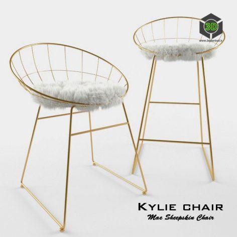 T058G Kylie Sheepskin Chair with cushion bar stool 019 (3ddanlod.ir)