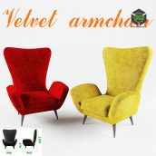 Velvet armchair 053 (3ddanlod.ir)