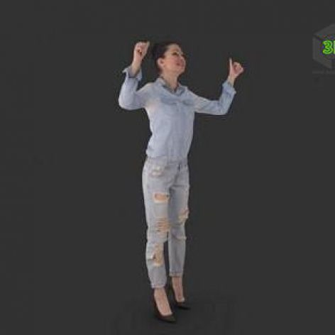 Young Fan Woman Full Body scanned 3d model (3ddanlod.ir)