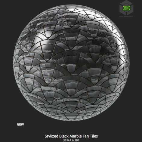 stylized_black_marble_fan_tiles (3ddanlod.ir)