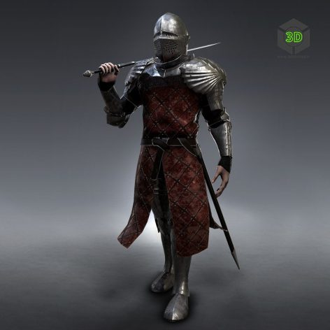 Ancient Knight With Sword 3D Model 002 (3ddanlod.ir)