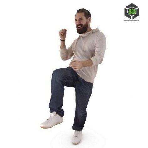 Beard Fan Man Full Body scanned 3d model (3ddanlod.ir)